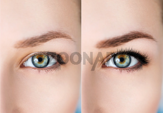 Female eyes before and after eyelash extension.