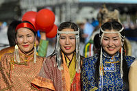 Women in  traditional deel costume at the Mongolian National Costume Festival, Ulaanbaatar, Mongolia