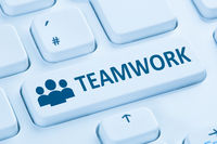 Teamwork Business Team online Internet blau Computer Tastatur