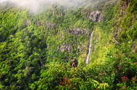 Panorama of waterfall Black River and jungle