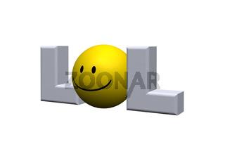 das wort lol mit einem smiley statt des buchstaben o - 3d illustration