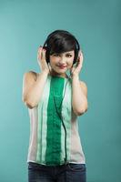 Girl listen music