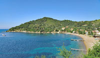 Beach and Village of Bagnaia on Elba Island,Tuscany,mediterranean Sea,Italy