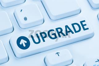 Upgrade upgraden Software Programm blau Computer Tastatur