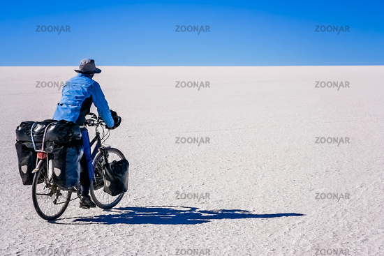 Cycling on the salar de Uyuni