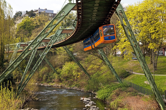Suspension Railway above river Wupper, Wuppertal, Bergisches Land, North Rhine-Westphalia, Germany