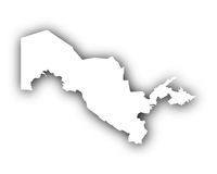 Karte von Usbekistan mit Schatten - Map of Uzbekistan with shadow