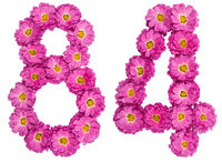 Arabic numeral 84, eighty four, from flowers of chrysanthemum, isolated on white background