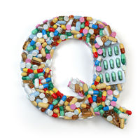 Letter Q. Set of alphabet of medicine pills, capsules, tablets and blisters isolated on white.