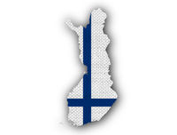Karte und Fahne von Finnland - Map and flag of Finland