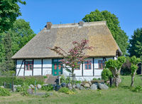 historic School House of Middelhagen on Ruegen,baltic Sea,Mecklenburg western Pomerania,Germany