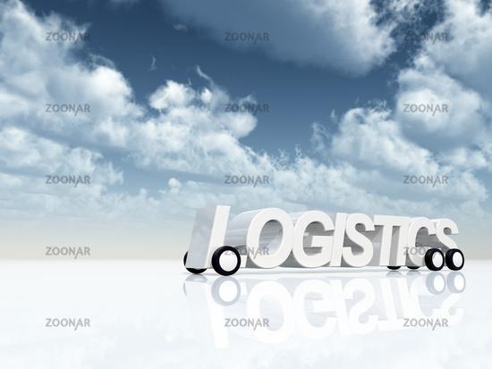 das wort logistics auf rädern unter blauem wolkenhimmel - 3d illustration
