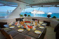 Breakfast on board of Catamaran at Seychelles