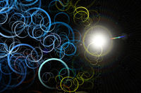 Futuristic abstract design illustration with circles and  light