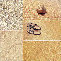 Collage of toned pictures of many beach items - flip-flops, shells,sand, sea water