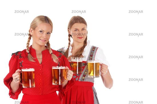 Oktoberfest women with beer
