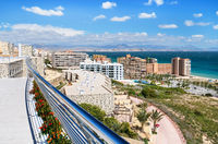 View from the hotel's balcony to the coastline of Alicante. Costa Blanca. Spain