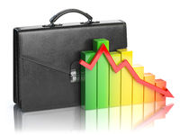 Decline of stock market portfolio concept. Briefcase and graph isolated on white background.