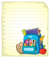 Notebook page with schoolbag 1 - picture illustration.