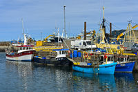 Fishing trawlers in the port of Fraserburgh, Scotland, Great Britain