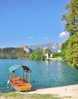 traditional Row Boat called Pletna at Lake Bled,Slovenia