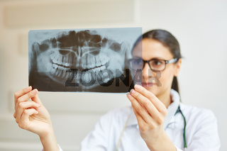 Zahnärztin analysiert Röntgenbild