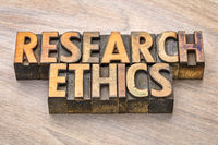 research ethics word abstract in wood type