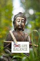 Buddha statue with the words Life Balance
