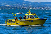 Speedboat of the Swiss coastguard association Belotte-Bellerive on Lake Geneva, Geneva, Switzerland