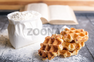 Belgian waffles and bag of flour