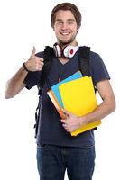 Student Daumen hoch junger Mann jung lachen Jugendlicher Freisteller