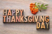 Happy Thanksgiving Day in wood type
