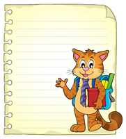 Notebook page with school cat - picture illustration.
