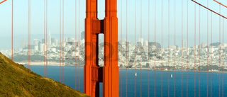 Panoramic Golden Gate Bridge San Francisco Marin County Headlands