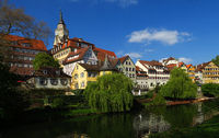 city of Tuebingen; Germany; River Neckar; church;