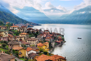 View of Como Lake, Milan, Italy, with Alps mountains in background