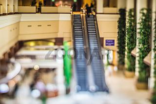 hotel building escalator miniature tilt shift effect