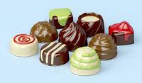 Variety of chocolate candies