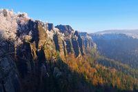 Elbsandsteingebirge im Winter Winterberg - Elbe sandstone mountains in winter and hoarfrost, mountain Winterberg