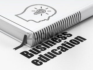 Education concept: book Head With Lightbulb, Business Education on white background
