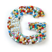 Letter G. Set of alphabet of medicine pills, capsules, tablets and blisters isolated on white.