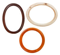 set of round wooden picture frame isolated