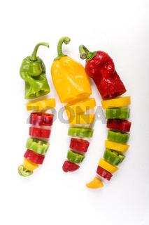 Bunte geschnittene Paprika - coloured cut paprika