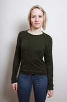 Three quarter length blond young woman