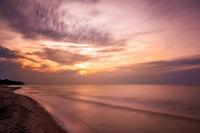 Sunset over Baltic sea beach