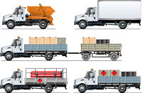 Vector spec trucks set template isolated on white