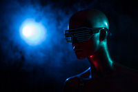 Female mannequin with neon led glasses