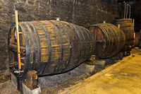 Port wine casks in a wine cellar, Quinta de la Rosa, Pinhao, Alto Douro, Portugal