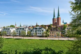 Lübeck, Deutschland, Stadtansicht von Süden