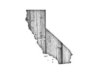 Karte von Kalifornien auf verwittertem Holz - Map of California on weathered wood